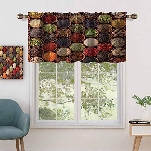 Hiiiman Fashion Design Valance Thermal Insulated Window Panels Colorful Herbs Spices Cardamom Pepper Chili Ginger Dill, Set of 1, 50'x18' for Kids Room