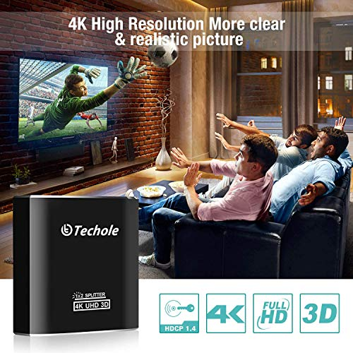 HDMI Splitter 1 in 2 Out - Techole 4K 2 Way HDMI Splitter, Aluminum Powered HDMI Switch Ver 1.4 HDCP Bypass, Supports 4K@30Hz 1080P 3D for PS4 Xbox Sky Box Fire Stick, DVD Player HDTV Projector etc