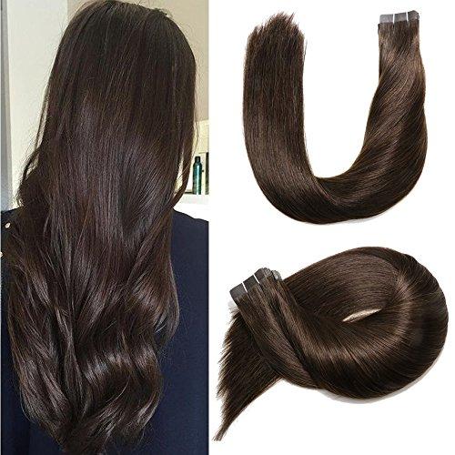 Ruban adhésif en Extensions de cheveux humains brésilien 20 pcs 50 gram soyeux droites transparente épais Extrémité Trame de peau de cheveux humains 100% Remy Hair (35,6 cm, # 2 Marron foncé)