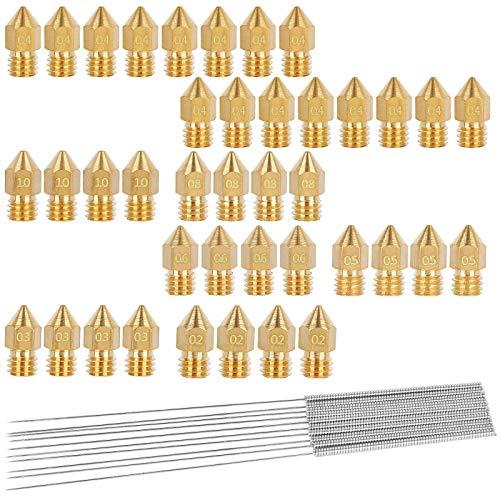 40 ugelli di stampa 3D, stampante 3D MK8, ugello in ottone, testina di stampa 1.0/0.2/0.3/0.5/0.6/0.8/0.4 mm, con pulizia aghi per stampante 3D Anet A8 Makerbot MK8 Crealité CR10 Ender 3
