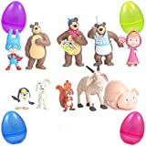 PARK AVE 10 Masha and The Bears Mini Figures with Jumbo Egg Storage, 1-3' Tall Mini Figure Toys for Kids Cupcake Cake Toppers Party Favor