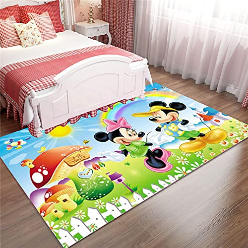 Alfombra De Área De Alfombra Alfombras De Piso Impresas Cute Dibujos Animados Mickey Mouse Alfombrilla De Piso Suave Antideslizante Alfombras (A553) 100X150Cm