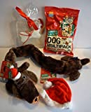 Paradise Pets CHRISTMAS DOG GIFT BOX WITH PLUSH SQUEAKY DACHSHUND TOY TREAT MULTI PACK XMAS HAT & EDIBLE RAWHIDE GREETINGS CARD