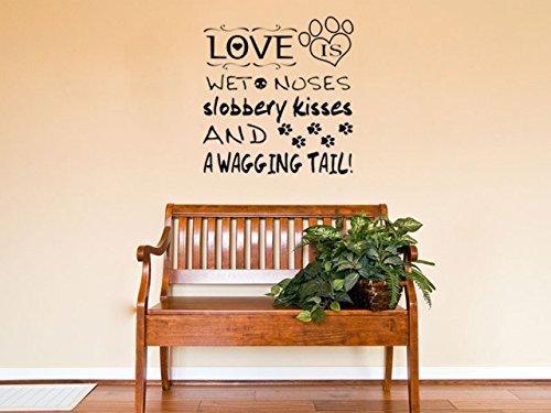 Love Is A Wagging Tail Adhesivo decorativo para pared, cita de perro, calcomanía, cachorro amor, Rojo, Small - 39cm high x 31cm wide