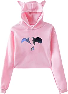 Women's Adorable Cat Ear Pullover Sweatshirts Toothless Light Dragon Graphic Crop Top Pullovers