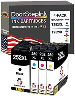 DoorStepInk Remanufactured in The USA Ink Cartridge Replacement for Epson 252XL 252 XL High Capacity Cartridges for Epson ...