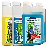 AQUALITY 3er Aquarium Starter- & Pflege-Sparset (Algenvernichter, Wasseraufbereiter, Filtermedium - Perfekter Start mit Allen wichtigen Produkten), Set-Größe:Set 500