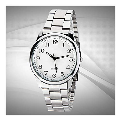 Acher Waterproof Stainless Steel Watch, Quartz Watch Great Gift for Parents (Color : White, Size : Medium)