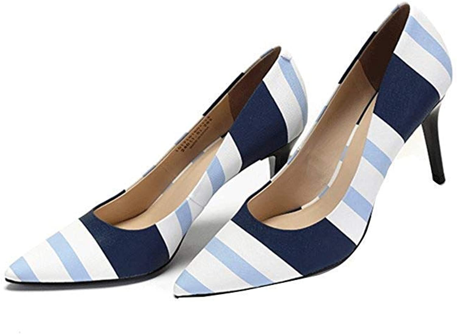 Womens Ladies Sandals Beautiful Striped Print High Heels Pointed Shallow Mouth Summer Work shoes Elegant Comfortable Wedding shoes Summer Holiday Sandals Fashion Sandals