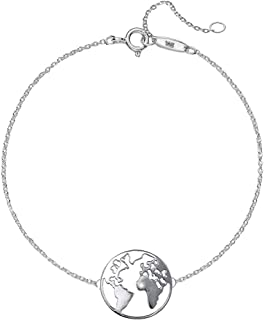 World Map Necklace and Bracelet,Silver 925, Pendant Size 25mm and Chain Size 42CM with 3CM Adjustable. Comes with Free Silver Cleaning Cloth.