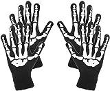 com-four® 2X Paar Skelett Handschuhe in schwarz, gruselige Knochen-Handschuh in Einheitsgröße für Fasching, Karneval, Halloween