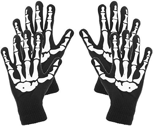 COM-FOUR® 2x paar skelethandschoenen in zwart, handschoenen met griezelig bot in één maat voor Mardi Gras, Carnival, Halloween