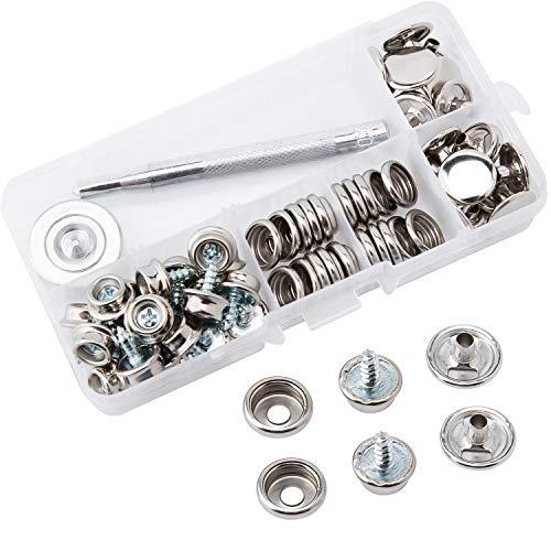 AIEX 60 Stück Canvas Snaps Kit Edelstahl Befestigungsschrauben für Möbel Canvas Bootsdeckel Snap Button mit 2 PCS Einstellwerkzeug (20 Sätze)