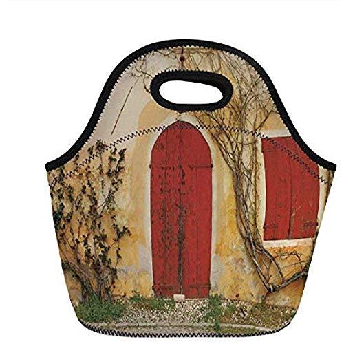 Rolluiken, deuropening met blinde deur en raam naar het landelijk Toscaanse huis Italië Europa, Beige Geel Rood, voor kinderen Adult Thermal Tote Bags