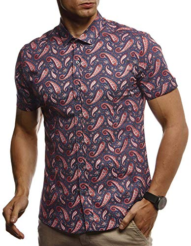 Leif Nelson Herren Hemd Kurzarm Sommer T-Shirt Kentkragen Stylisches Männer Freizeithemd Slim Fit Stretch Kurzarmhemd Jungen Basic Shirt Freizeit Sweater Kurzarmshirt Beach Strand LN3830,Blau-rot,XL