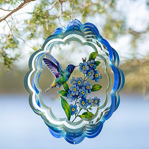 VP Home Floral Hummingbird Kinetic 3D Metal Outdoor Garden Decor Wind Spinner