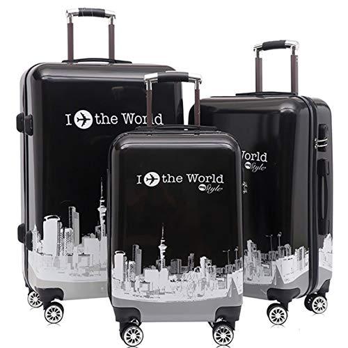 Equipaje de almacenamiento 20in 24in 28in Construcción Imprimiendo Hardshell Juego giratorio para maletas de 3 piezas para mujeres Maletas para trolley de viaje Maletas para llevar Maletas verticales
