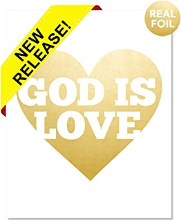 God Is Love Gold Foil Print Poster Biblical Christian Spiritual Faith Jesus Jehovah Christ Bible Motivational Inspirational Devotional God Art Heart Religious Home Office Wall Decor Handmade (8 x 10)