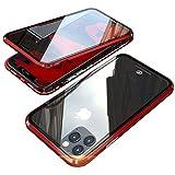 iPhone 12 ケース iPhone12 Pro ケース アルミ バンパー 透明 クリア 両面 強化ガラス 360°全面保護 アイフォン12/12pro 携帯スマホケース マグネット式 ワイヤレス 充電対応 軽量 薄型 擦り傷防止 耐衝撃 レッド