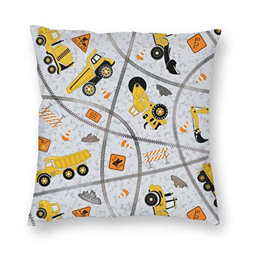 WAZHIJIA Cartoons Construction Trucks Excavator Decorative Throw Pillow Covers 18 X 18 Inch,Architectural Pattern Cotton Linen Cushion Cover Square Pillow Cases for Car Sofa Home Decor