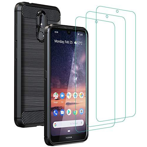 ivoler Coque pour Nokia 3.2 + 3X Protecteur D'écran en Verre Trempé, Fibre de Carbone Silicone Souple TPU Housse Etui Coque de Protection avec Anti-Choc et Anti-Rayure - Noir