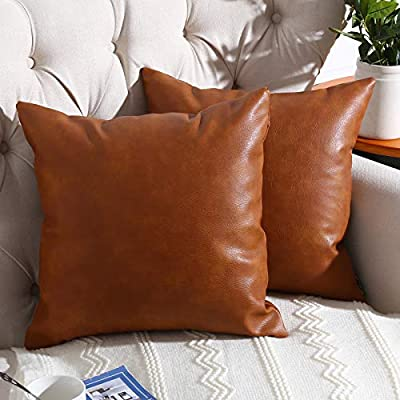 RutherCraft Pack of 2 Thick Faux Leather Throw Pillow Covers,Square Modern Decorative Throw Pillow Case for Farmhouse Sofa Couch Bed Car,18x18 Brown