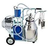 Lolicute Electric Milking Machine Milker 550W 10-12Cows/hour for Farm Goats Cows Sheep Bucket 25L 304 Stainless Steel Bucket 1440rmp/min 110V (Ship from US)