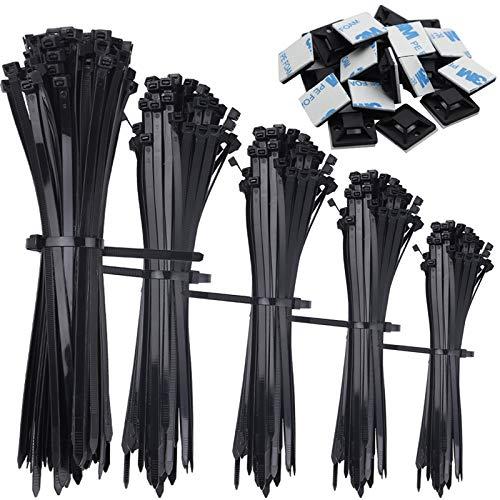 Tonsooze Kabelbinder Set, Stabiles Nylon Kabelbinder, UV Beständig Kabelbinder 500 Stck 100/150/200/250/300 mm zip ties Und 50 Kabelbinderhalter, kabelbinder schwarz, Hitzebeständig