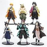 XRTUKD 6Pcs Demon Slayer Figure,Figure Statue Anime Collection Figurine Doll Toys,Kimetsu No Yaiba Action Figure,Handmade Kamado Tanjiro,Gifts for Anime Fans,6.3 Inch (6 Pcs)