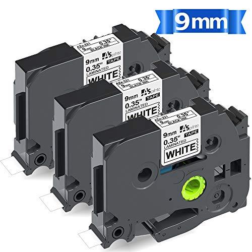 9mm 白テープ 黒文字 互換 ブラザー ピータッチ Brother ラミネート テープカートリッジ TZe-221 TZe221 tz...