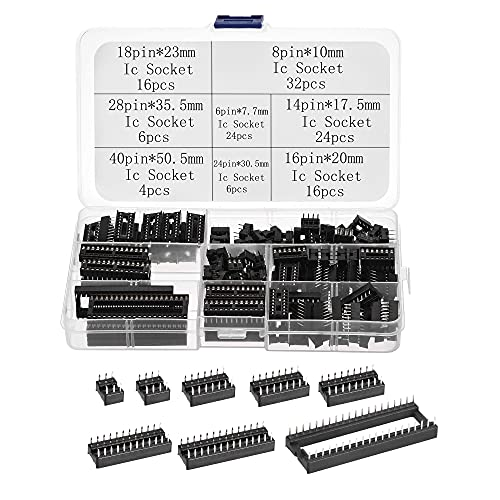 sourcing map Dip IC Chip Enchufe Adaptador 2,54mm Paso Doble Fila Plana Pines Chip Conector 6,8,14,16,18,24,28,40 Pines