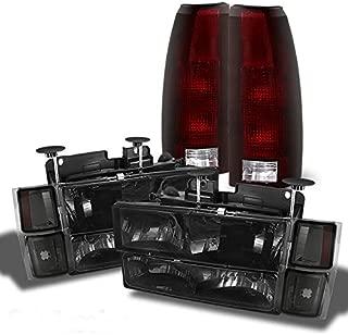 For 1994-1998 C/K Suburban Tahoe Silverado Smoked Headlights+Bumper+Corner+Red Smoked Tail Lights Combo