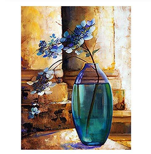 5D DIY diamante pintura bordado mosaico punto de cruz decoración del hogar Imagen de diamantes de imitación flor botella puntada decoración regalos 40x50 cm