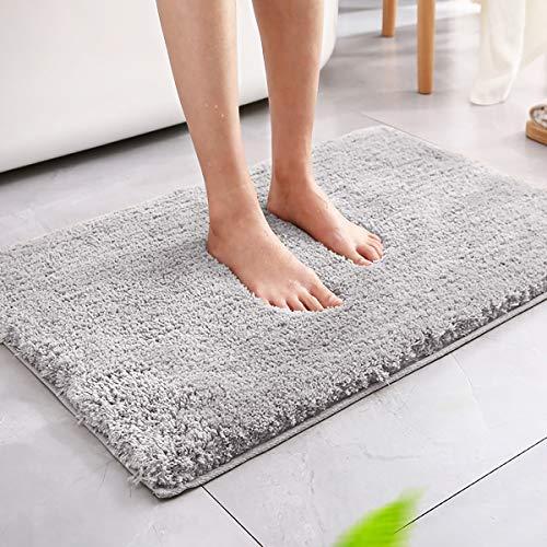 Magicfun Alfombra de baño, Alfombra Absorbente Antideslizante, Alfombra de baño de Microfibra esponjosa, alfombras de Ducha de Chenilla Suave Absorbente de Agua, Lavable a máquina(Gris Claro)