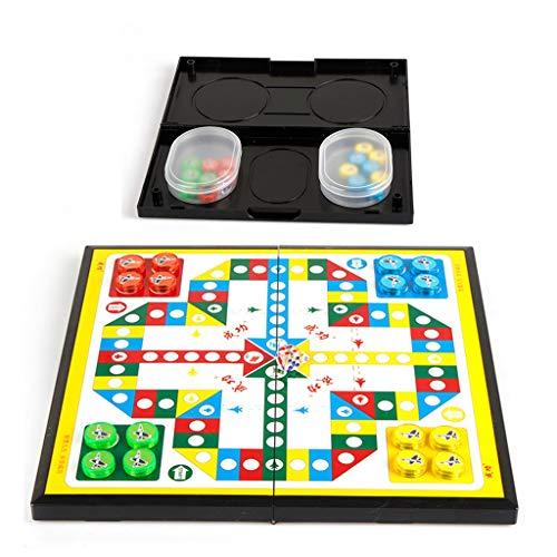 MIORIO Mini Juego de Mesa de Viaje portátil Plegable de ajedrez Volador Plegable magnético Ludo