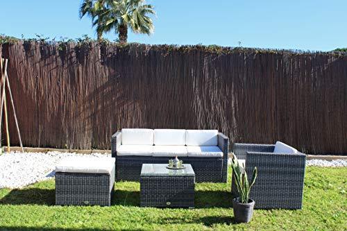 Kiefer Garden Conjunto de Muebles de Exterior para Jardín o Terraza | Incluye 1 Sofá de 3 Plazas + 1 Sillón + 1 Mesa + 1 Taburete Otomano | Color Gris | Acero Inoxidable y Ratán Sintético