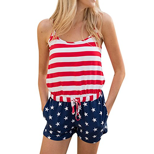 KYLEON Women's Jumpsuits Rompers Sleeveless American Flag Striped 4th of July Girls Summer Casual Short Playsuits Outfit White
