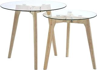 FAMIROSA Set da Tavolo ad Incastro a 3 Pezzi in Vetro Temprato Trasparente