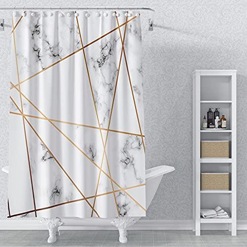 AWERT 90x183cm Mármol Blanco Cortina De La Ducha Mármol Blanco Línea Dorada Grieta Patrón Arte Decorativa Cortina De Ducha para Baño Impermeable Tejido De Poliéster Conjunto con Ganchos