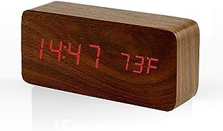 Rubik Wooden Digital Alarm Clock, Wood LED Adjustable Brightness Voice Control Desk Wooden Alarm Clock with Date/Temperatu...
