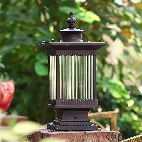 SILOLA Vintage wasserdichte Glassäulenlampe, traditionelle braune Aluminium-Außenpfosten-Tischlampe, Säule Straßenlaterne Balkonpfosten-Gartenvilla