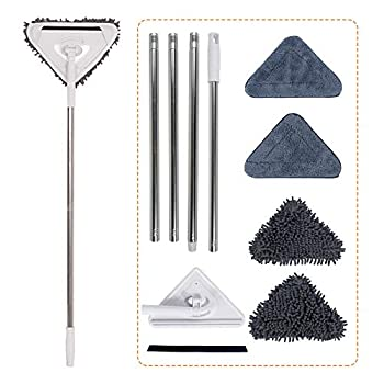 Microfiber Dust Mop Wall Cleaner with Extension Pole and 4 Replacement Mitts Ceiling Washer and Baseboard Duster
