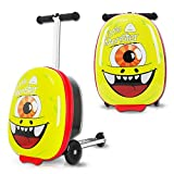 18'Kids Luggage Scooter Boys Ride-on Mini Scootcase Luggage Suitcase With Collapsible Scooter Cute Cartoon Children's Suitcase Baby Scooter Suitcase Trolley Case Slide Car Stand (The one-eyed monster)