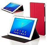 Forefront Cases Smart Hülle kompatibel für Sony Xperia Z4 10,1 Zoll Tablet-PC SGP771 Hülle Schutzhülle Tasche Case Cover Stand - R&um-Geräteschutz Smart Auto Schlaf Wach Funktion (ROT)