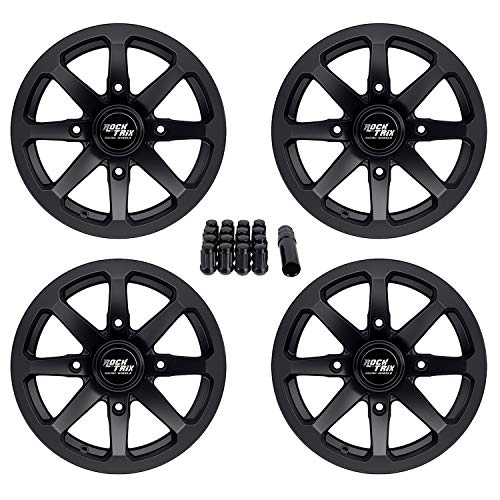 5+2 Offset RockTrix RT101 14in ATV Wheels Rims 14x7 Matte Black for Kawasaki Teryx Mule Can-Am Maverick Commander Renegade Outlander 4//137-1pc Single 4x137
