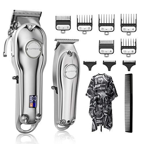 SUPRENT Tondeuse à cheveux professionnelle pour homme avec affichage LED T-Blade Kit pour les familles