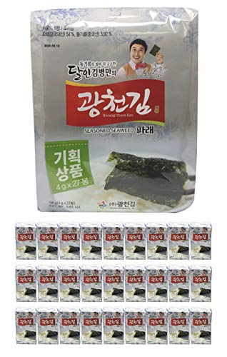 Kwangcheonkim Kim Green Laver Seasoned Seaweed Snacks 4g X 27 Packs = 108 grams / 27 Individual Packs (27 Pack) // 김, のり, 海苔, 紫菜