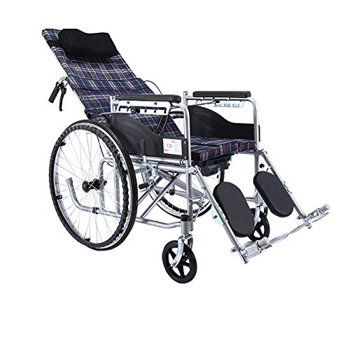 Wheelchair Silla De Ruedas Semi-acostada con Reposacabezas Desmontable, Reposapiernas Elevable,...