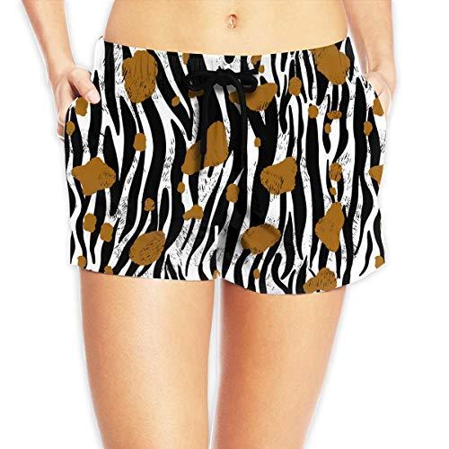 Women Swim Shorts Floral Animal Fur Print Brown Swim Short Lightweight Swim Hot Shorts for Beach or Swimming