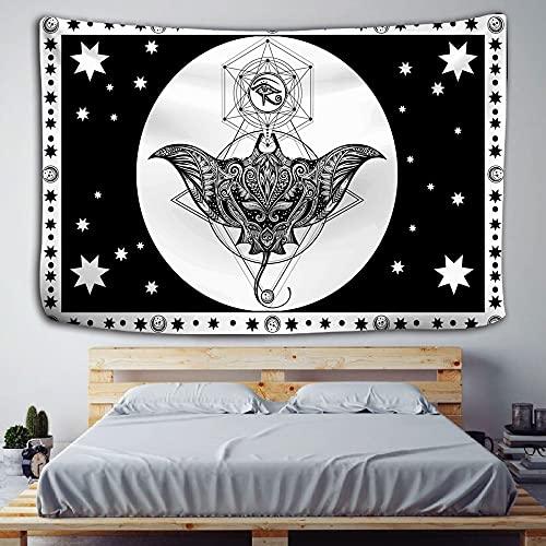 Tapiz de brujería de carta de Tarot en blanco y negro tapiz de decoración del hogar bohemio Hippie Mandala manta tela colgante A5 180x230cm